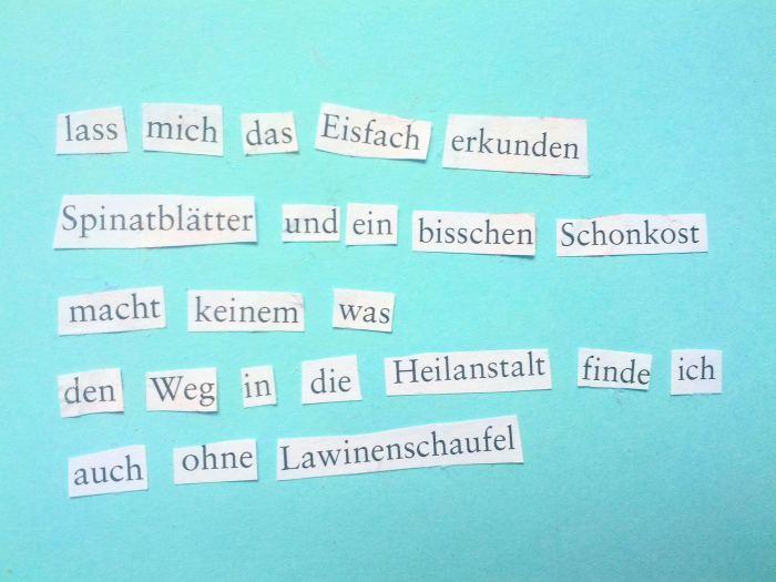 Collage aus Verena Fiebigers Texten von Lea Beiermann