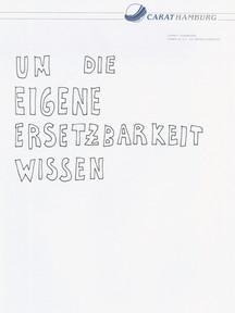 """Peter Piller: """"Büroregel: Um die eigene Ersetzbarkeit wissen"""", aus der Serie: Bürozeichnungen, 2000-2004"""